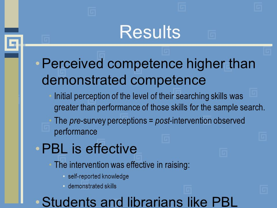 Results Perceived competence higher than demonstrated competence Initial perception of the level of their searching skills was greater than performance of those skills for the sample search.