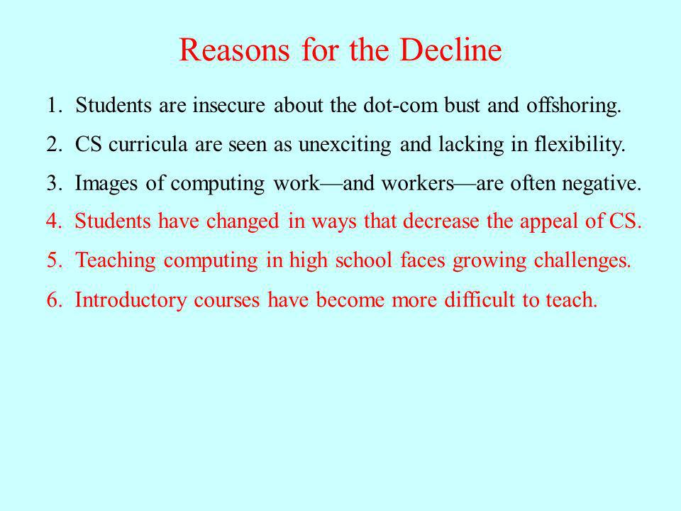 Reasons for the Decline Students are insecure about the dot-com bust and offshoring.1.