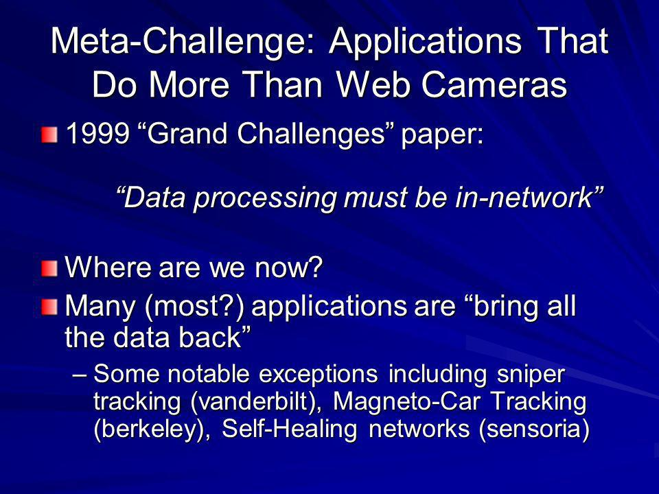 Meta-Challenge: Applications That Do More Than Web Cameras 1999 Grand Challenges paper: Data processing must be in-network Where are we now.