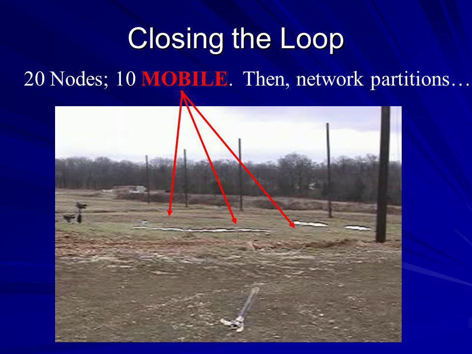 Closing the Loop 20 Nodes; 10 MOBILE. Then, network partitions…
