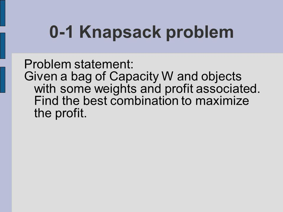 Problem statement: Given a bag of Capacity W and objects with some weights and profit associated.