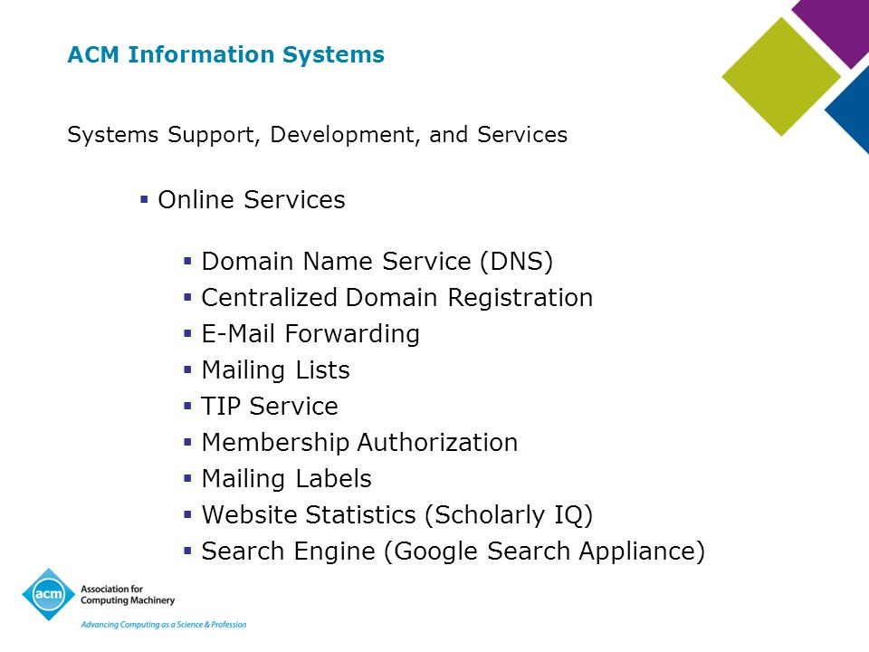 ACM Information Systems Systems Support, Development, and Services Online Services Domain Name Service (DNS) Centralized Domain Registration E-Mail Forwarding Mailing Lists TIP Service Membership Authorization Mailing Labels Website Statistics (Scholarly IQ) Search Engine (Google Search Appliance)