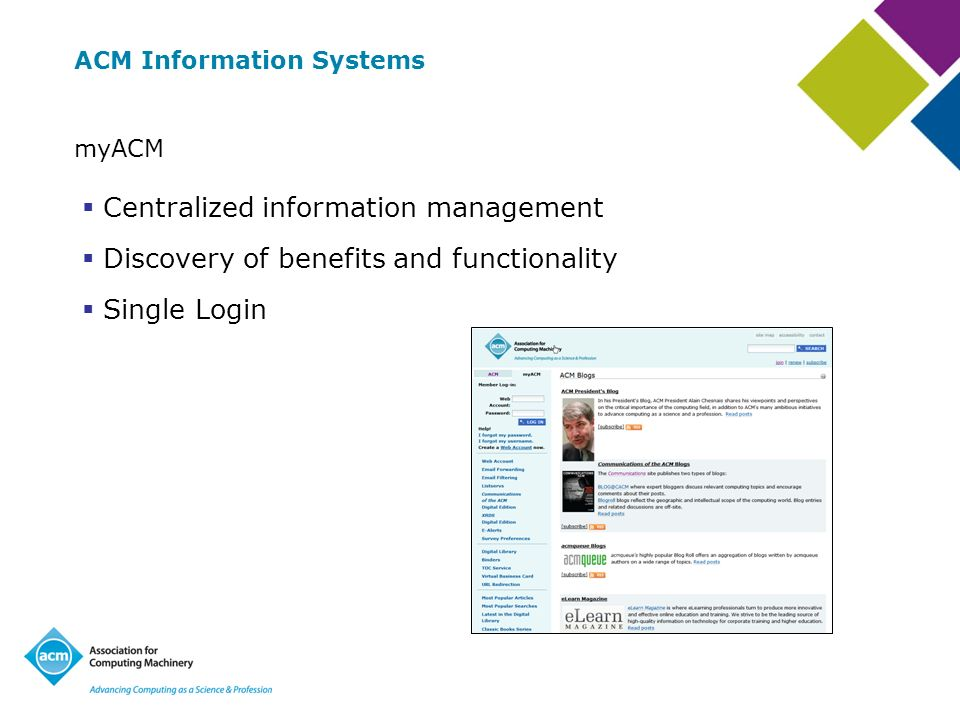 ACM Information Systems myACM Centralized information management Discovery of benefits and functionality Single Login