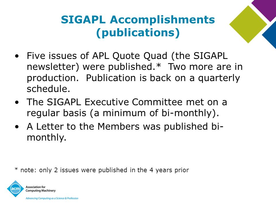 SIGAPL Accomplishments (publications) Five issues of APL Quote Quad (the SIGAPL newsletter) were published.* Two more are in production.