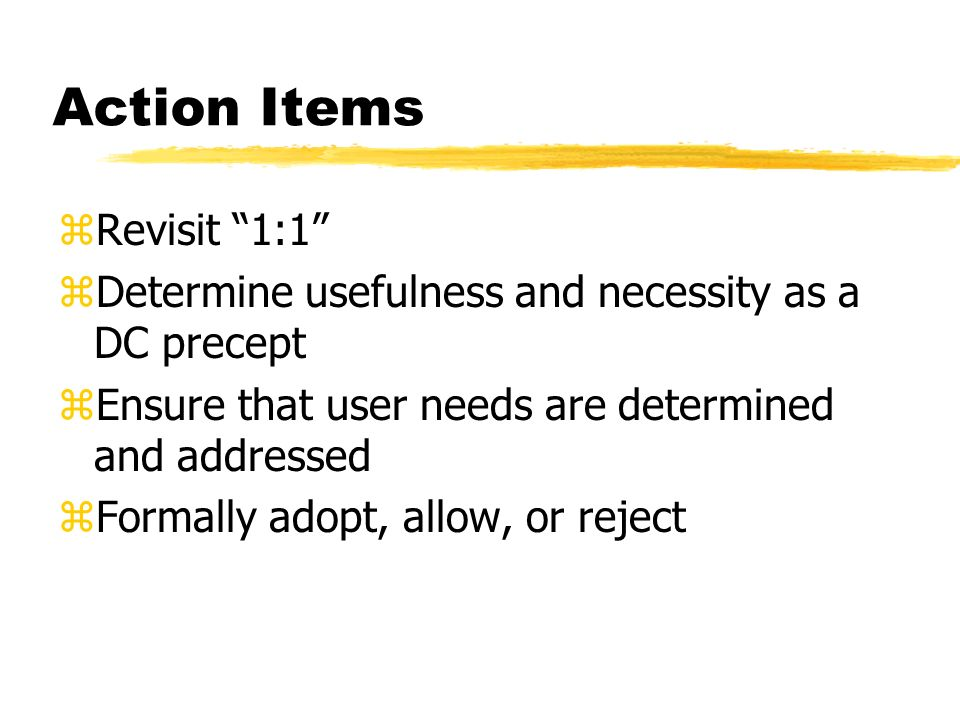Action Items zRevisit 1:1 zDetermine usefulness and necessity as a DC precept zEnsure that user needs are determined and addressed zFormally adopt, allow, or reject