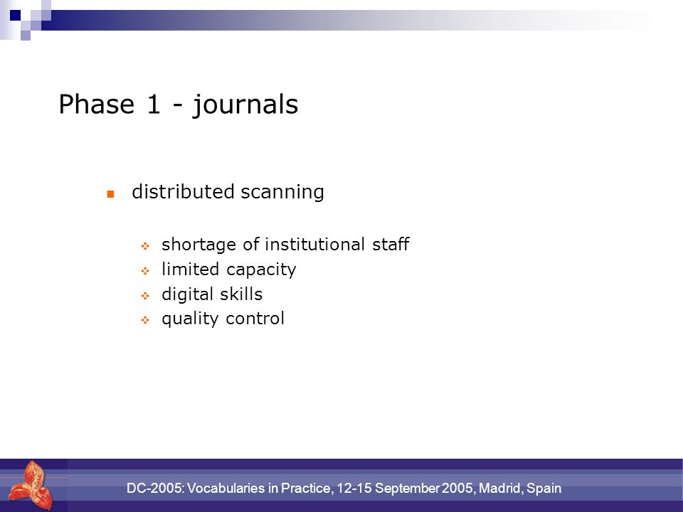 DC-2005: Vocabularies in Practice, 12-15 September 2005, Madrid, Spain Phase 1 - journals distributed scanning shortage of institutional staff limited capacity digital skills quality control