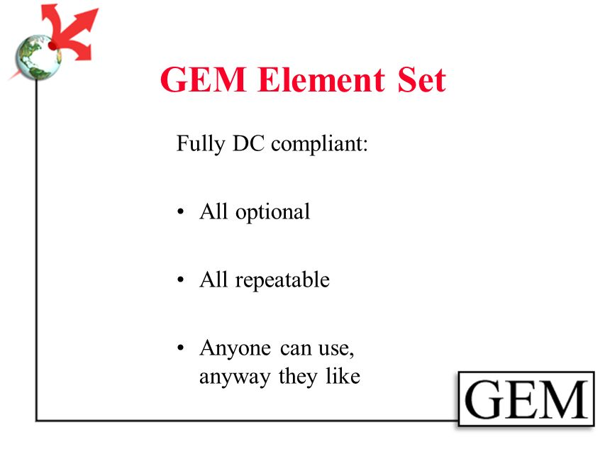 GEM Element Set Controlled Vocabularies: Audience Format Grade Level Pedagogy Resource Type Subject