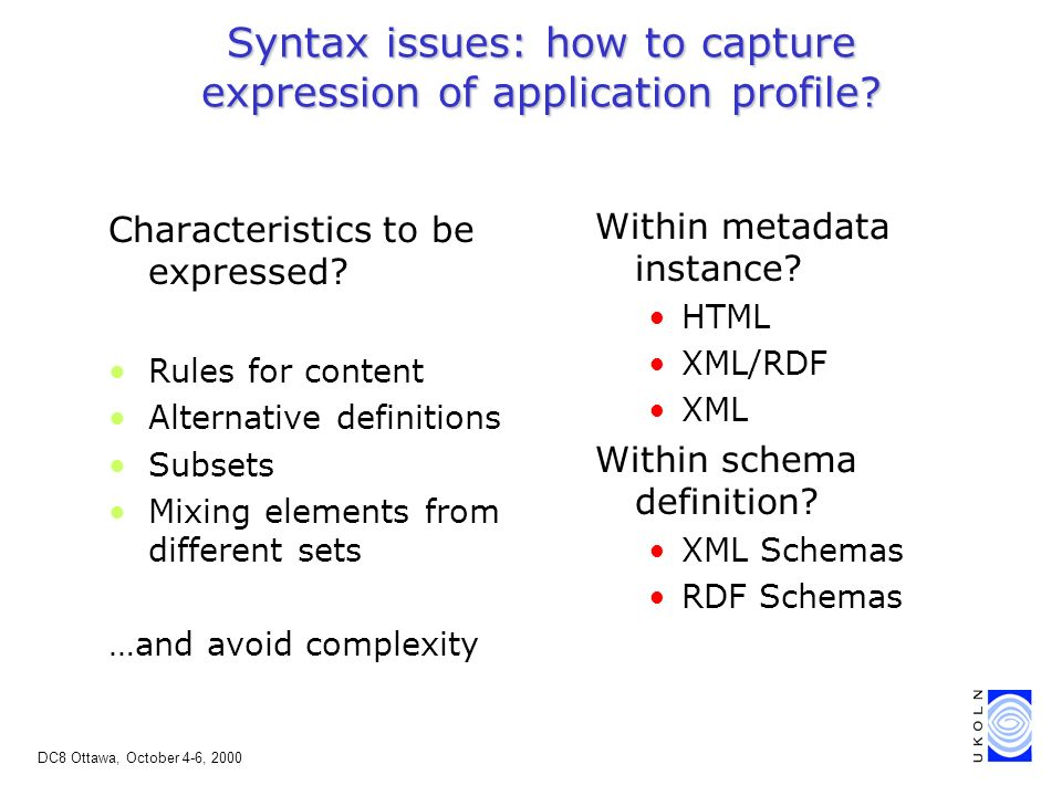 DC8 Ottawa, October 4-6, 2000 Syntax issues: how to capture expression of application profile.