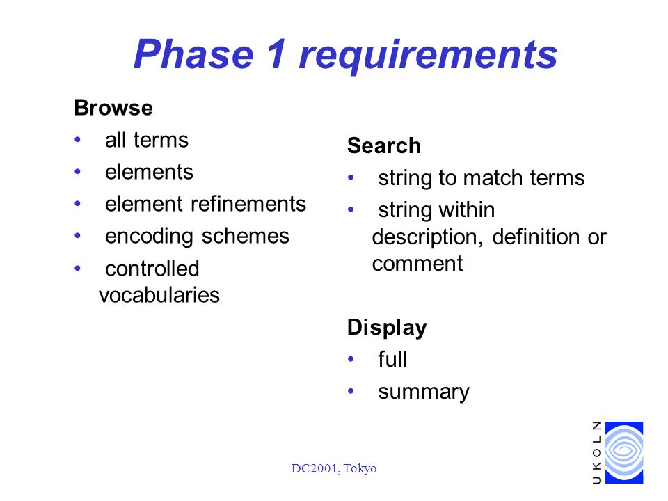 DC2001, Tokyo Phase 1 requirements Browse all terms elements element refinements encoding schemes controlled vocabularies Search string to match terms string within description, definition or comment Display full summary