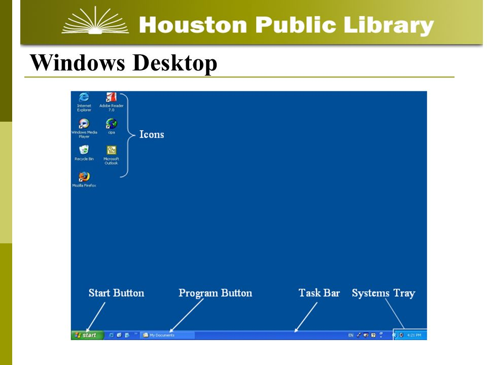 Start Button Task Bar Icons Systems Tray Program Button Windows Desktop