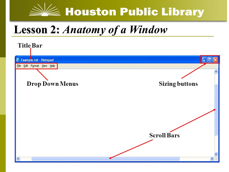 Lesson 2: Lesson 2: Anatomy of a Window Scroll Bars Title Bar Drop Down MenusSizing buttons