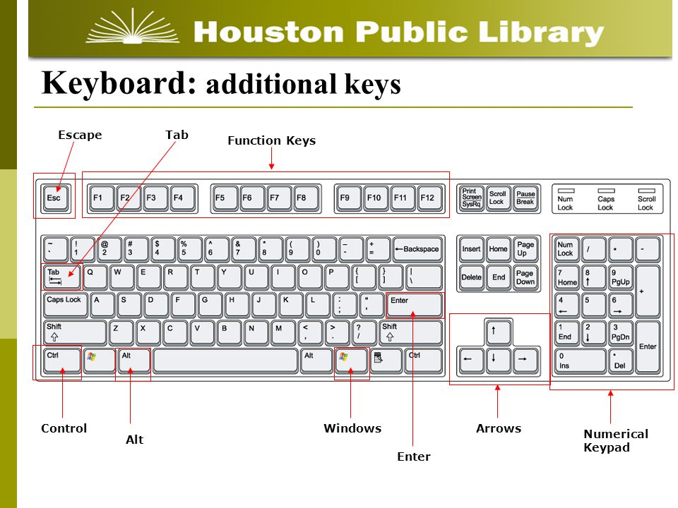 Keyboard: additional keys EscapeTab Function Keys Control Alt Windows Enter Arrows Numerical Keypad