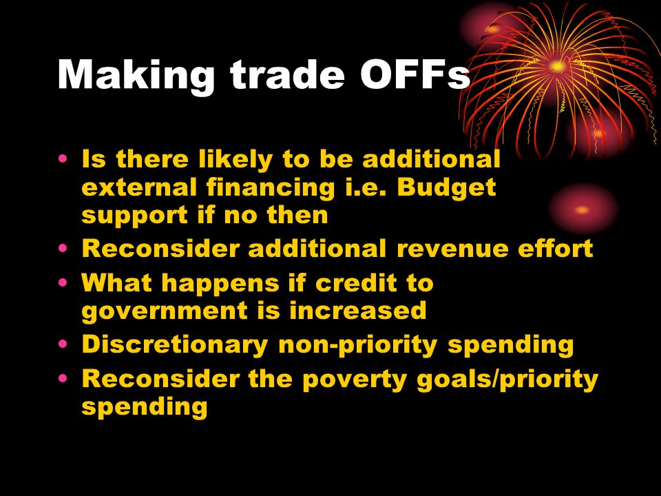 Making trade OFFs Is there likely to be additional external financing i.e.