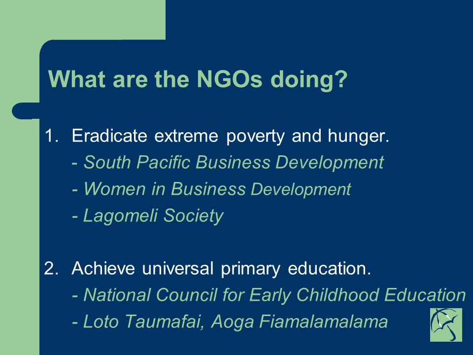 What are the NGOs doing. 1.Eradicate extreme poverty and hunger.