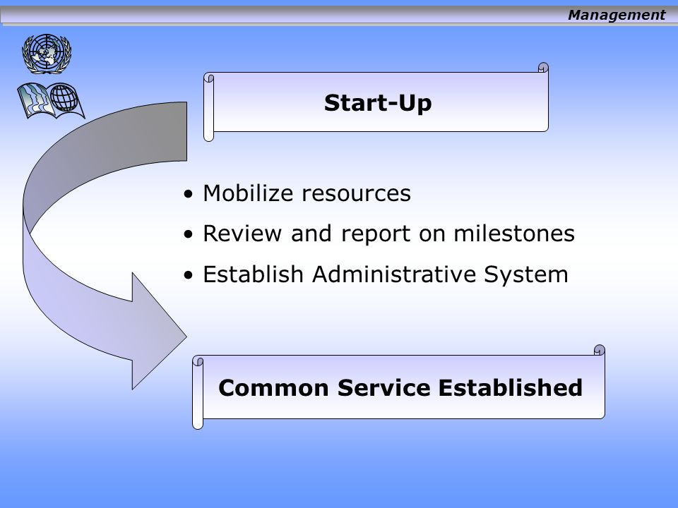 Start/up Delivery of services Performance Management Oversight Continuously Improved Common Services Management
