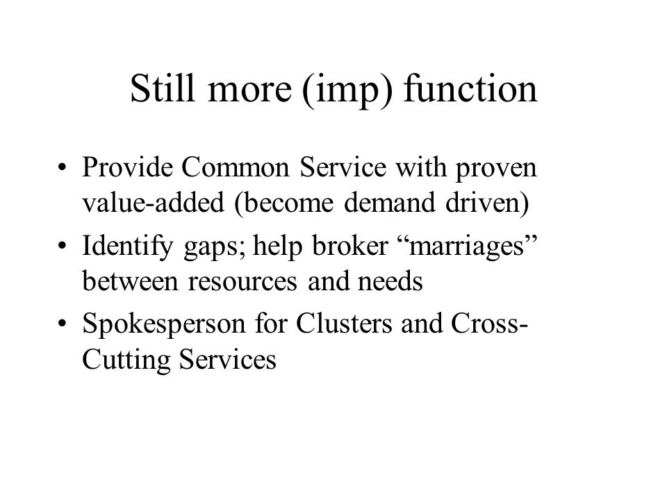 Still more (imp) function Provide Common Service with proven value-added (become demand driven) Identify gaps; help broker marriages between resources and needs Spokesperson for Clusters and Cross- Cutting Services