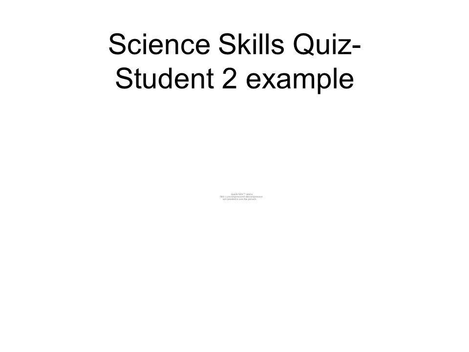 Science Skills Quiz- Student 2 example