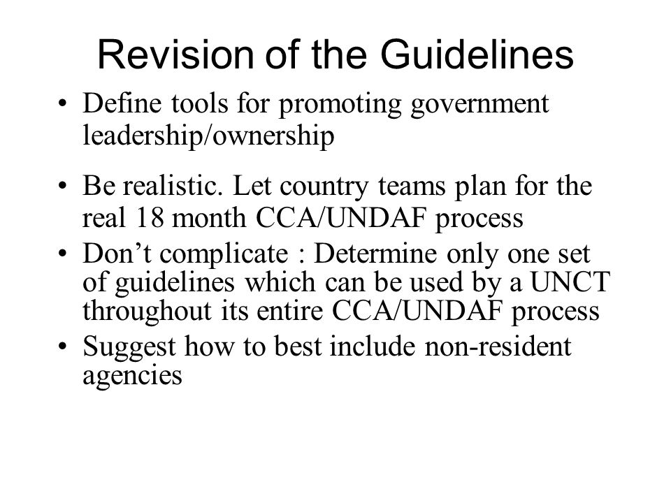 Revision of the Guidelines Define tools for promoting government leadership/ownership Be realistic.