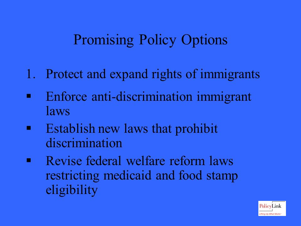 Promising Policy Options 1.Protect and expand rights of immigrants Enforce anti-discrimination immigrant laws Establish new laws that prohibit discrimination Revise federal welfare reform laws restricting medicaid and food stamp eligibility