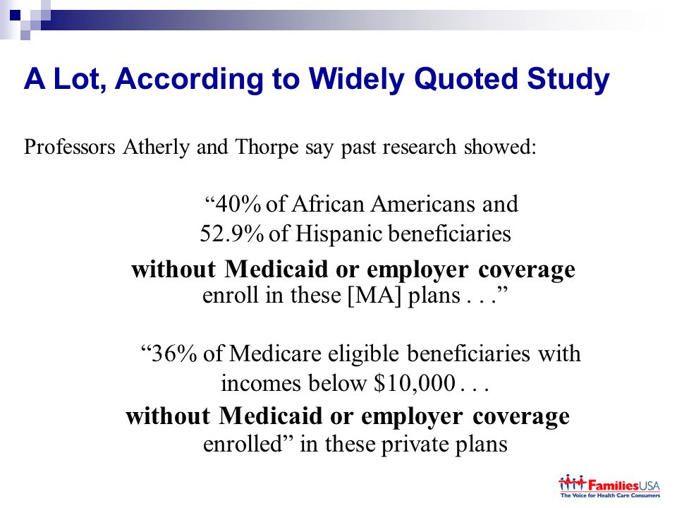 A Lot, According to Widely Quoted Study Professors Atherly and Thorpe say past research showed: 40% of African Americans and 52.9% of Hispanic beneficiaries enroll in these [MA] plans...