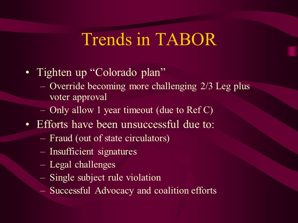 Trends in TABOR Tighten up Colorado plan –Override becoming more challenging 2/3 Leg plus voter approval –Only allow 1 year timeout (due to Ref C) Efforts have been unsuccessful due to: –Fraud (out of state circulators) –Insufficient signatures –Legal challenges –Single subject rule violation –Successful Advocacy and coalition efforts