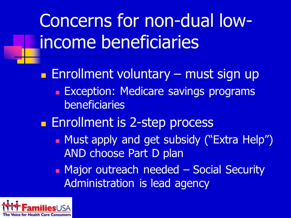 Concerns for non-dual low- income beneficiaries Enrollment voluntary – must sign up Exception: Medicare savings programs beneficiaries Enrollment is 2-step process Must apply and get subsidy (Extra Help) AND choose Part D plan Major outreach needed – Social Security Administration is lead agency