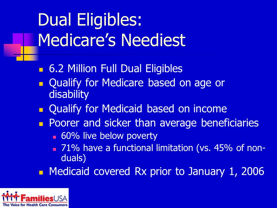 Dual Eligibles: Medicares Neediest 6.2 Million Full Dual Eligibles Qualify for Medicare based on age or disability Qualify for Medicaid based on income Poorer and sicker than average beneficiaries 60% live below poverty 71% have a functional limitation (vs.