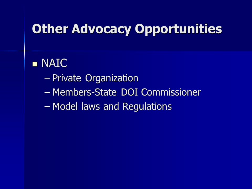 Other Advocacy Opportunities NAIC NAIC –Private Organization –Members-State DOI Commissioner –Model laws and Regulations