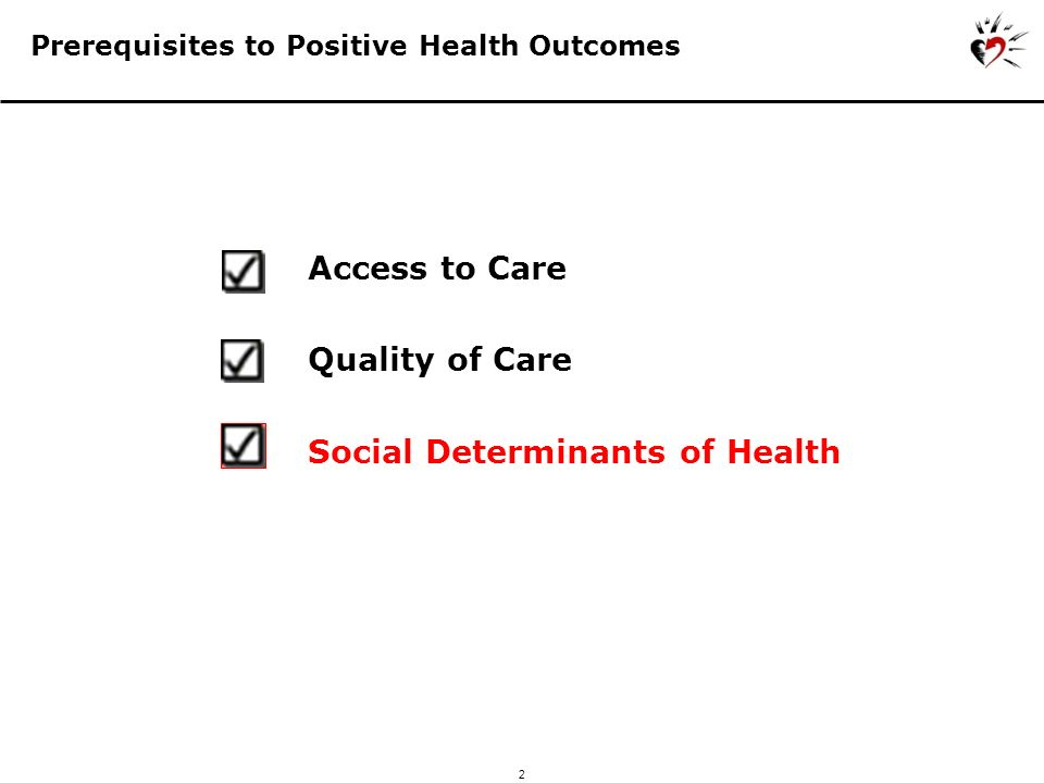 2 Prerequisites to Positive Health Outcomes Social Determinants of Health Access to Care Quality of Care