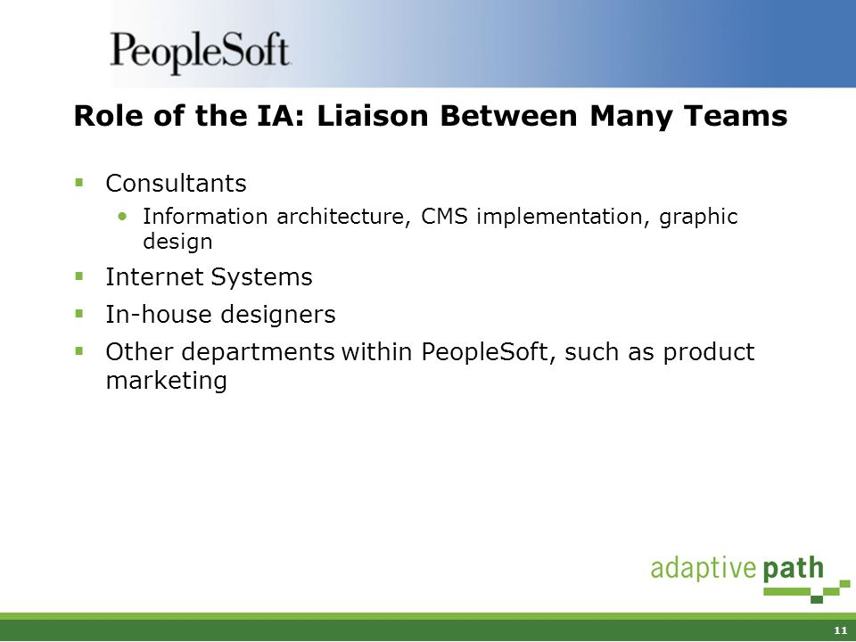11 Role of the IA: Liaison Between Many Teams Consultants Information architecture, CMS implementation, graphic design Internet Systems In-house designers Other departments within PeopleSoft, such as product marketing