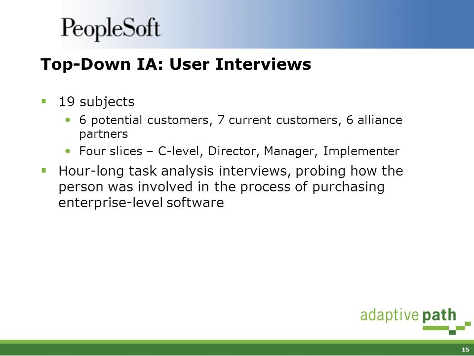 15 Top-Down IA: User Interviews 19 subjects 6 potential customers, 7 current customers, 6 alliance partners Four slices – C-level, Director, Manager, Implementer Hour-long task analysis interviews, probing how the person was involved in the process of purchasing enterprise-level software