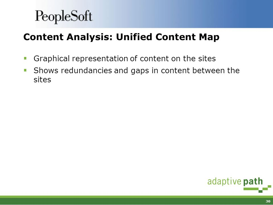 30 Content Analysis: Unified Content Map Graphical representation of content on the sites Shows redundancies and gaps in content between the sites