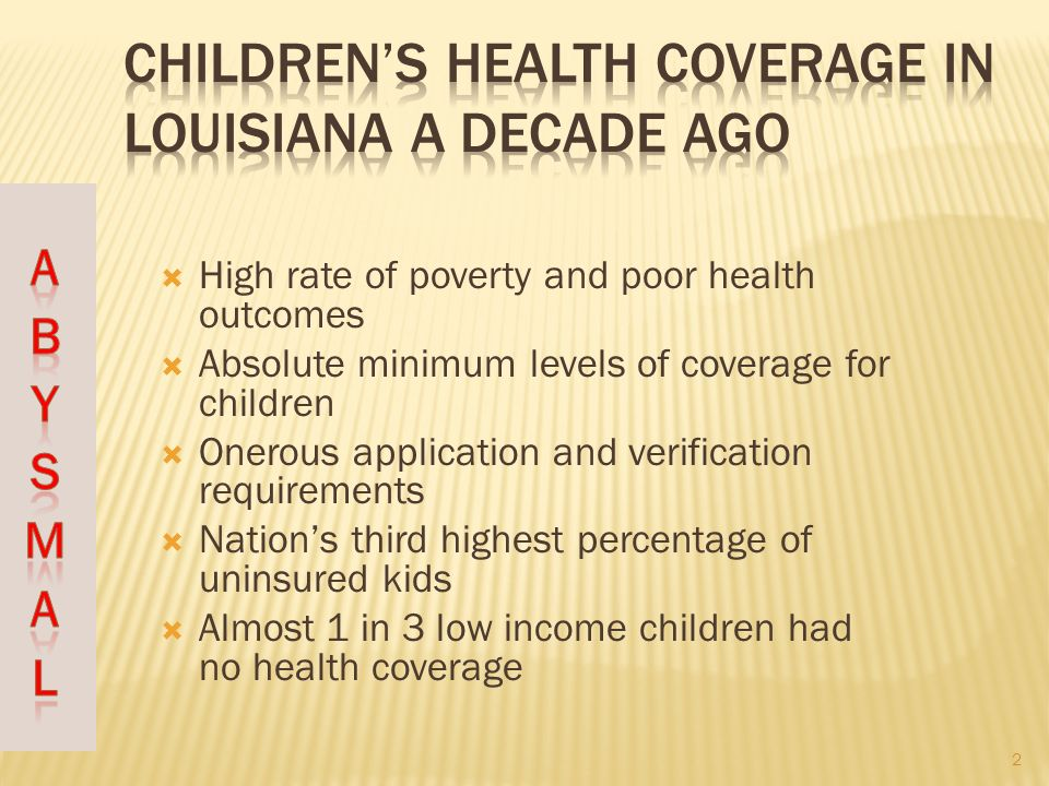 High rate of poverty and poor health outcomes Absolute minimum levels of coverage for children Onerous application and verification requirements Nations third highest percentage of uninsured kids Almost 1 in 3 low income children had no health coverage 2