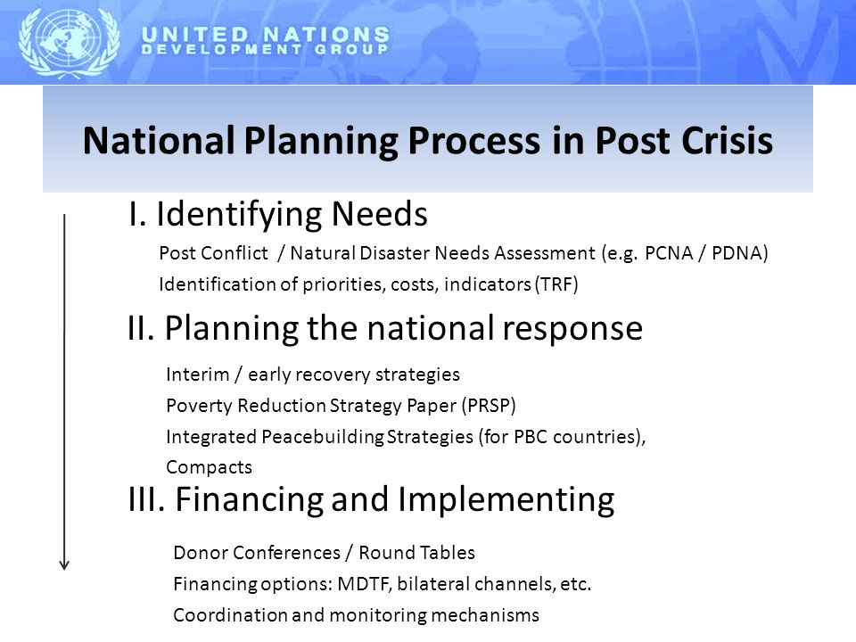 I. Identifying Needs II. Planning the national response III.