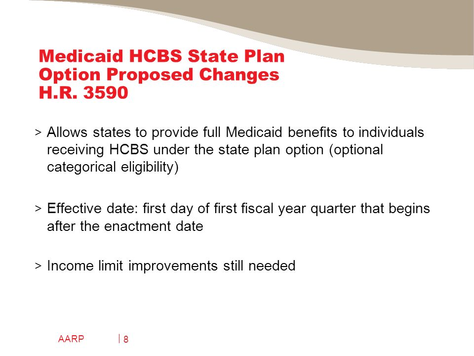 AARP 8 Medicaid HCBS State Plan Option Proposed Changes H.R.