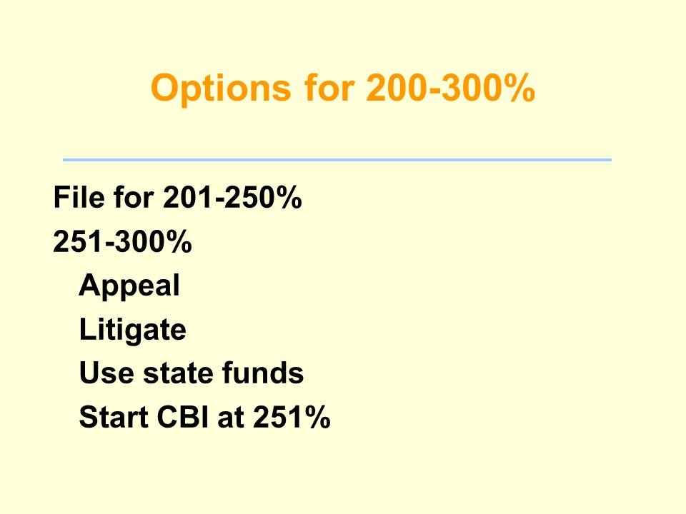 Options for 200-300% File for 201-250% 251-300% Appeal Litigate Use state funds Start CBI at 251%