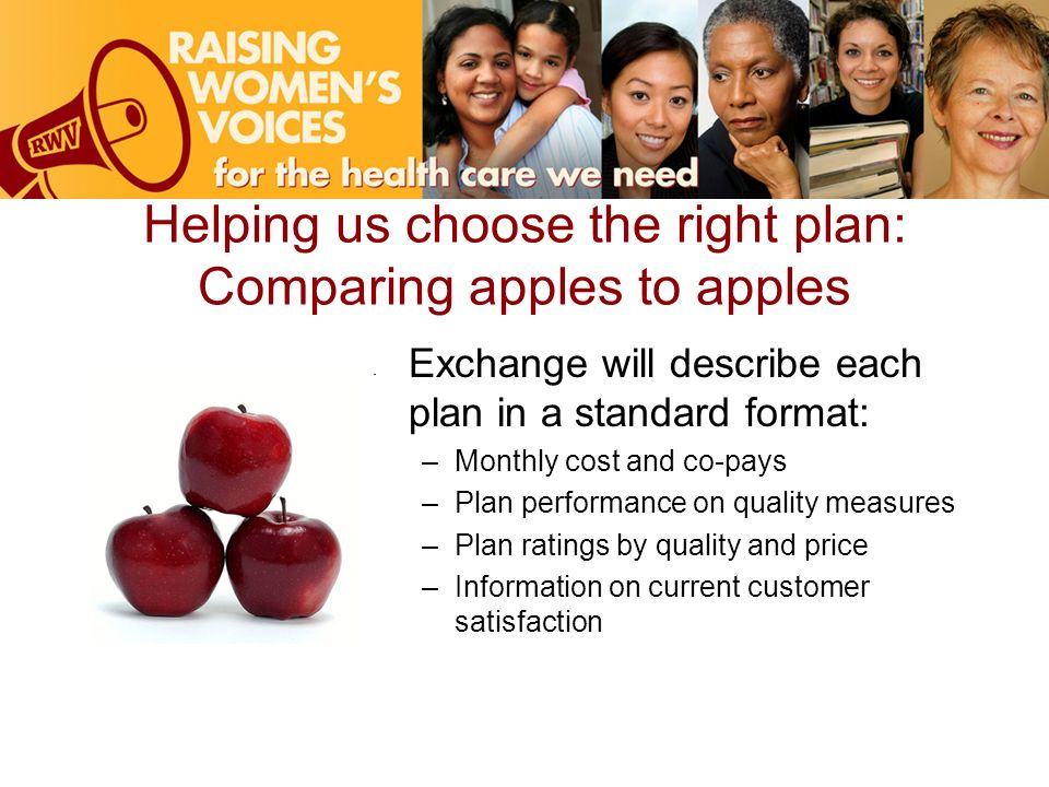 Helping us choose the right plan: Comparing apples to apples Exchange will describe each plan in a standard format: –Monthly cost and co-pays –Plan performance on quality measures –Plan ratings by quality and price –Information on current customer satisfaction