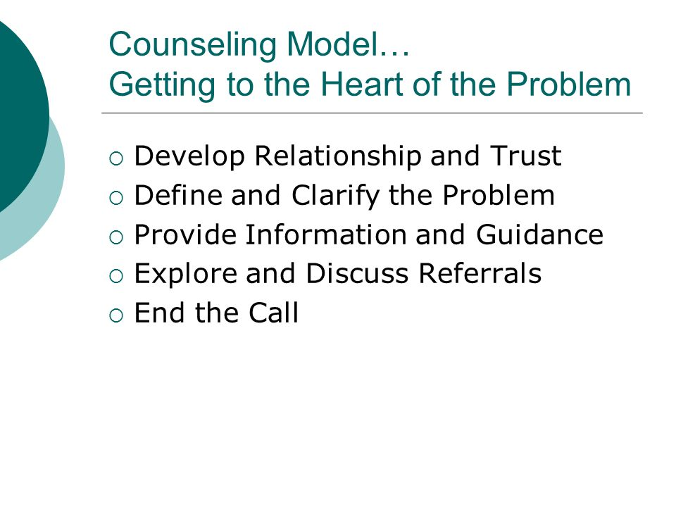 Counseling Model… Getting to the Heart of the Problem Develop Relationship and Trust Define and Clarify the Problem Provide Information and Guidance Explore and Discuss Referrals End the Call