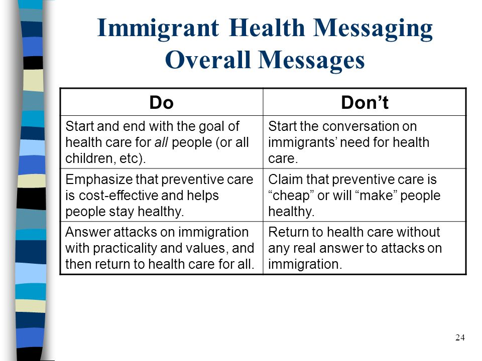 24 Immigrant Health Messaging Overall Messages DoDont Start and end with the goal of health care for all people (or all children, etc).