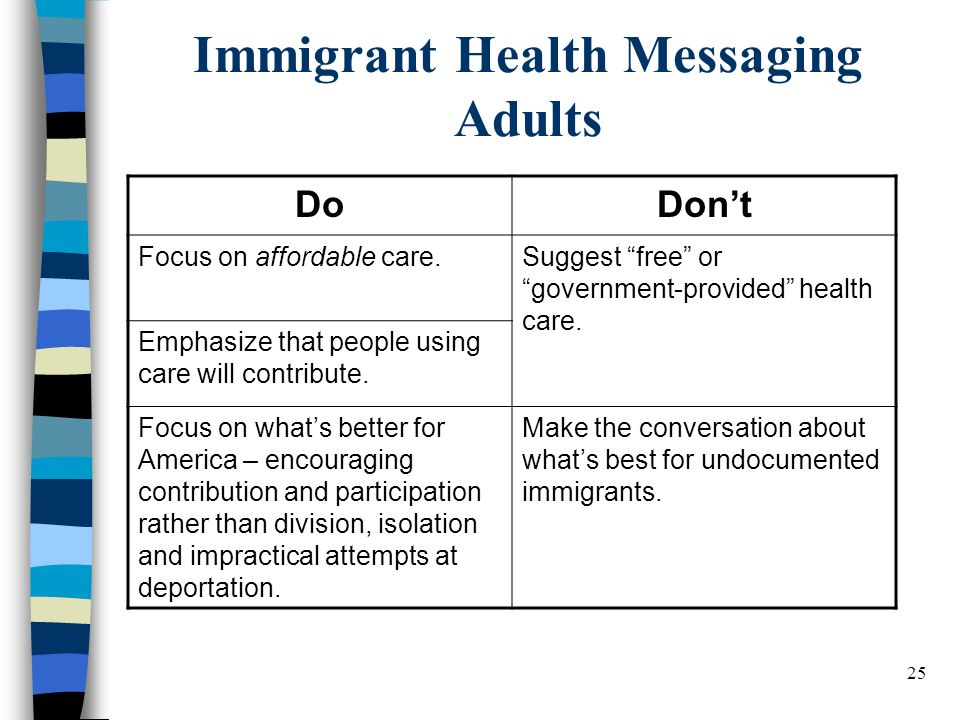 25 Immigrant Health Messaging Adults DoDont Focus on affordable care.Suggest free or government-provided health care.