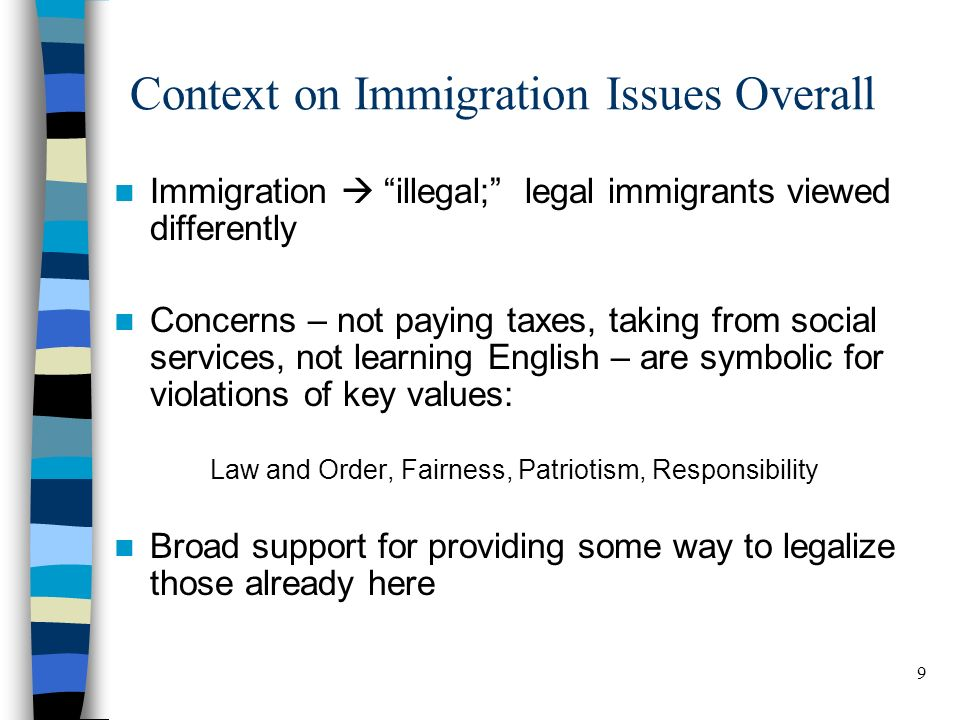 9 BELDEN RUSSONELLO & STEWART R E S E A R C H A N D C O M M U N I C A T I O N S Context on Immigration Issues Overall Immigration illegal; legal immigrants viewed differently Concerns – not paying taxes, taking from social services, not learning English – are symbolic for violations of key values: Law and Order, Fairness, Patriotism, Responsibility Broad support for providing some way to legalize those already here 9