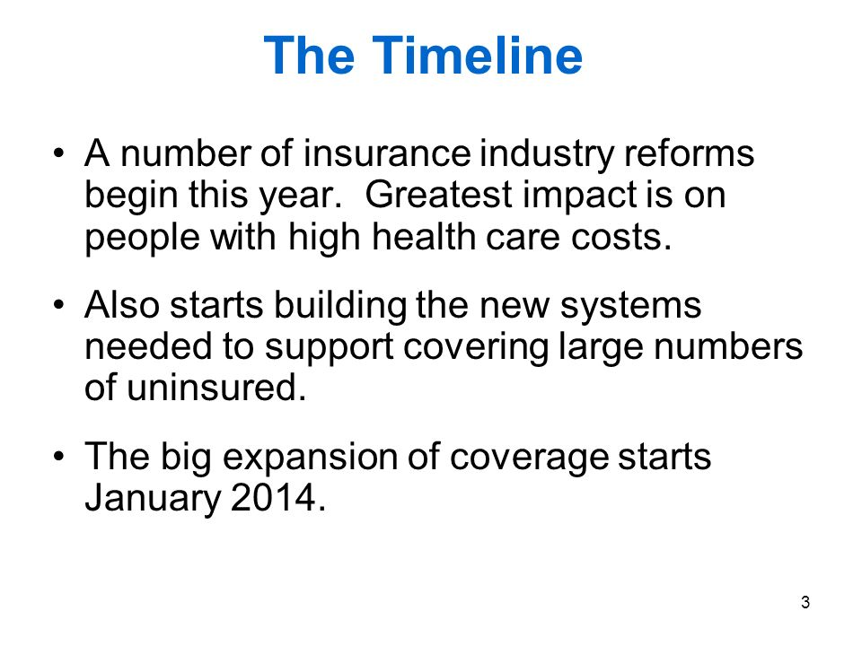 3 The Timeline A number of insurance industry reforms begin this year.