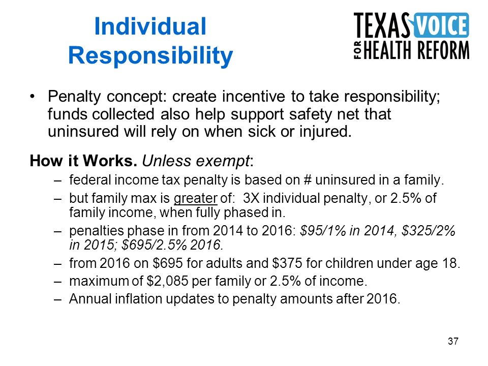 37 Penalty concept: create incentive to take responsibility; funds collected also help support safety net that uninsured will rely on when sick or injured.