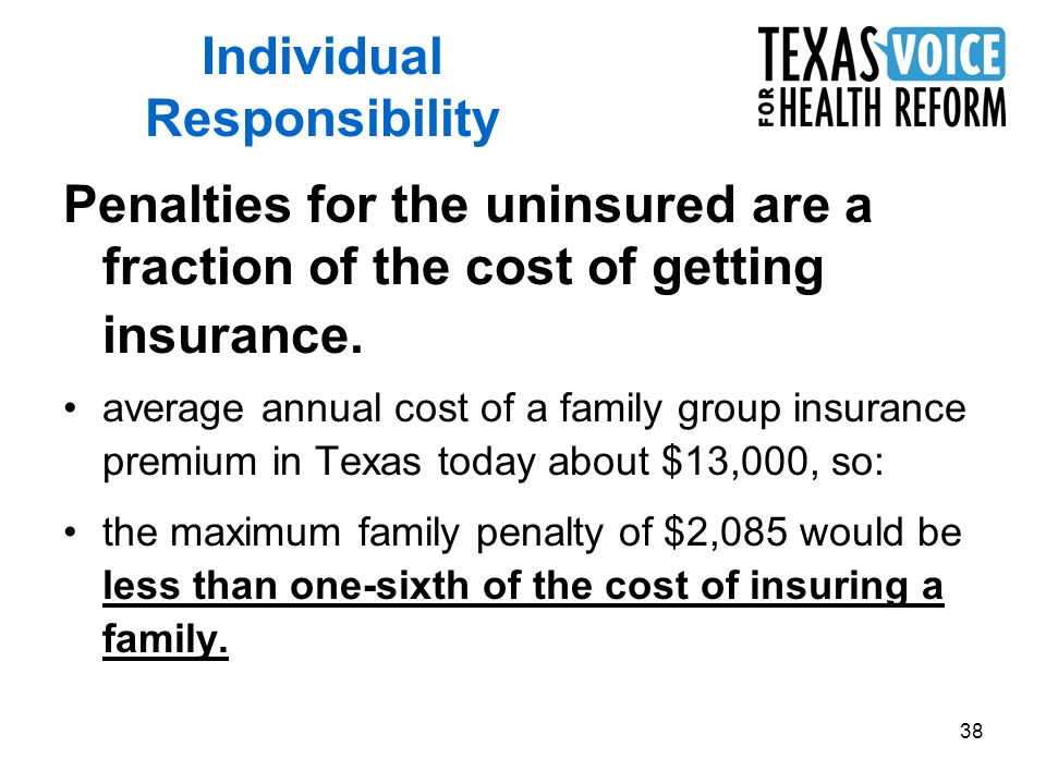38 Penalties for the uninsured are a fraction of the cost of getting insurance.