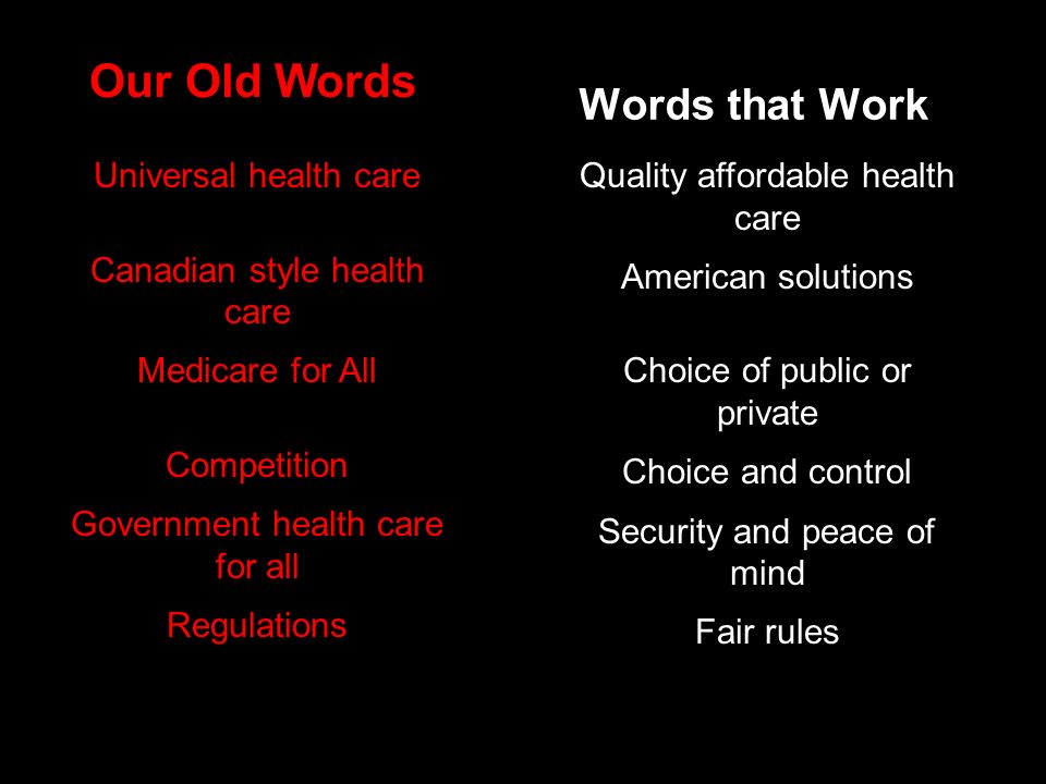 Words that Work Our Old Words Quality affordable health care American solutions Choice of public or private Choice and control Security and peace of mind Fair rules Universal health care Canadian style health care Medicare for All Competition Government health care for all Regulations