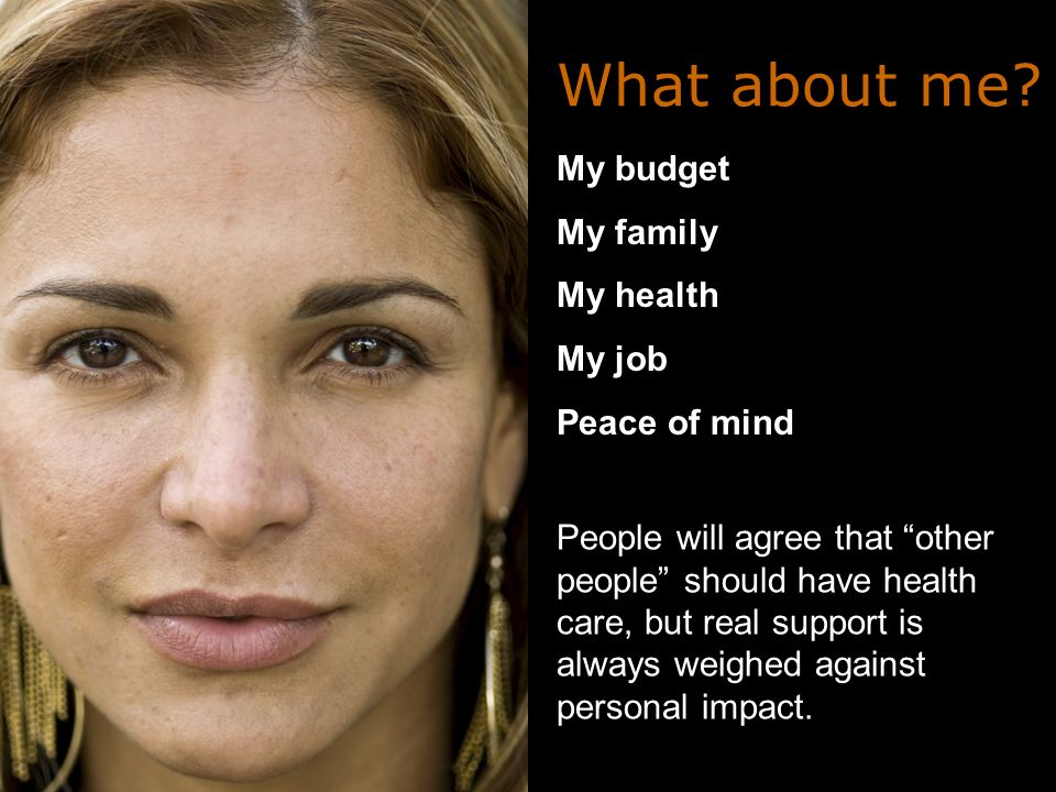 My budget My family My health My job Peace of mind What about me.