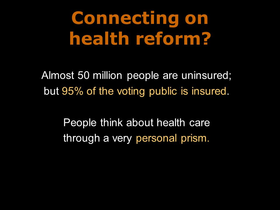 Connecting on health reform.