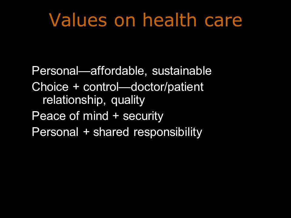 Values on health care Personalaffordable, sustainable Choice + controldoctor/patient relationship, quality Peace of mind + security Personal + shared responsibility