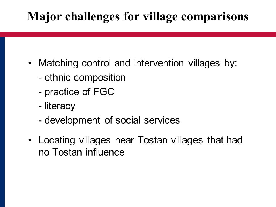 Major challenges for village comparisons Matching control and intervention villages by: - ethnic composition - practice of FGC - literacy - development of social services Locating villages near Tostan villages that had no Tostan influence