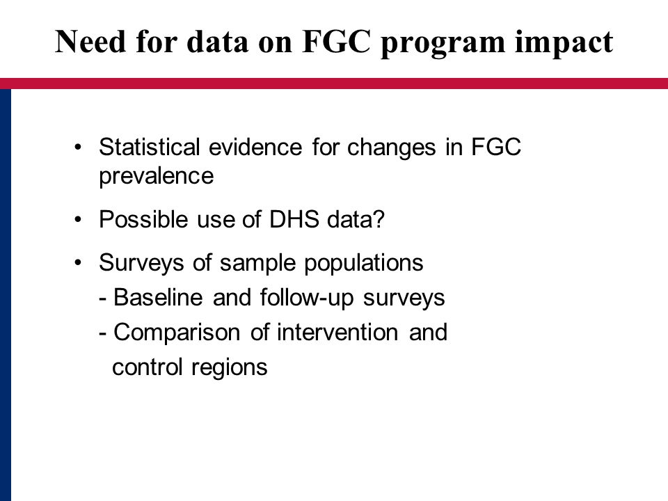 Need for data on FGC program impact Statistical evidence for changes in FGC prevalence Possible use of DHS data.